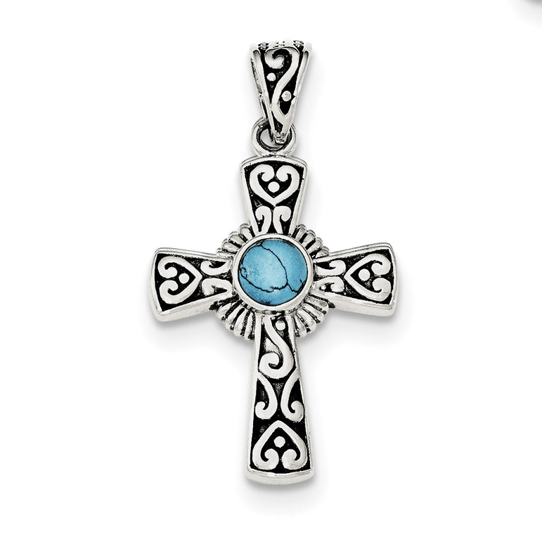 Sterling Silver Antiqued Recon Turquoise Cross Pendant QP4111 - shirin-diamonds