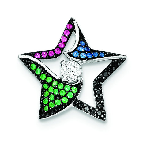Sterling Silver W/Multi-color Stones & Clear CZ Star Chain Slide - shirin-diamonds