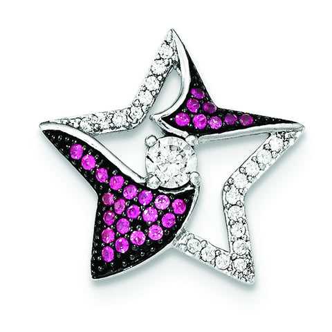 Sterling Silver W/Synthetic Ruby & CZ Star Chain Slide - shirin-diamonds