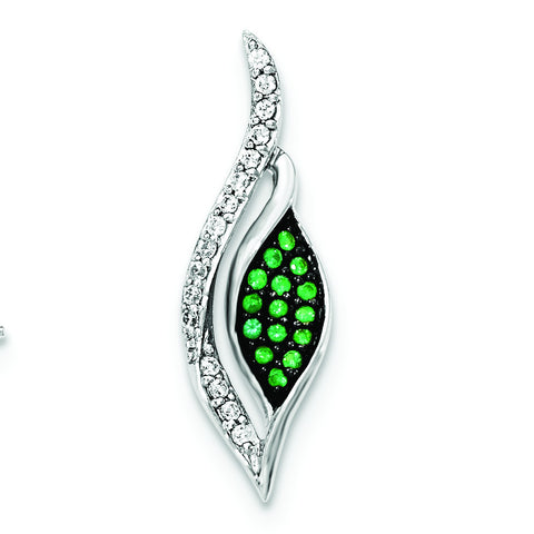 Sterling Silver W/Synthetic Green Spinel & CZ Chain Slide - shirin-diamonds