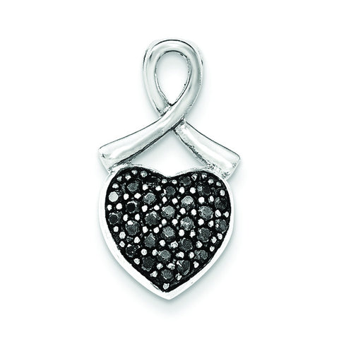 Sterling Silver Polished Black CZ Heart Chain Slide
