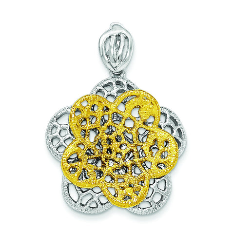 Sterling Silver Rhodium-plated Gold-tone Flower Pendant QP4323 - shirin-diamonds