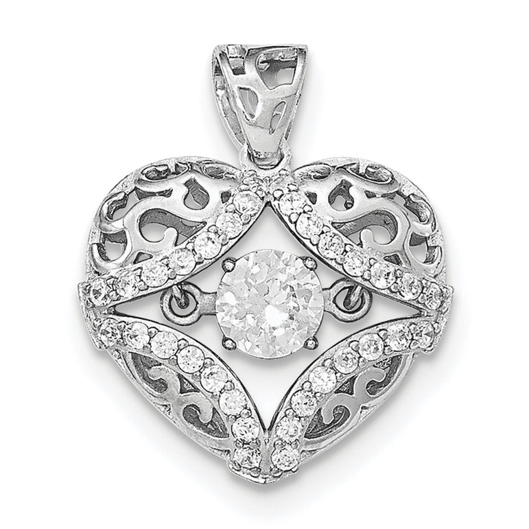 Sterling Silver Rhodium-plated Vibrant CZ Heart Pendant QP4368 - shirin-diamonds