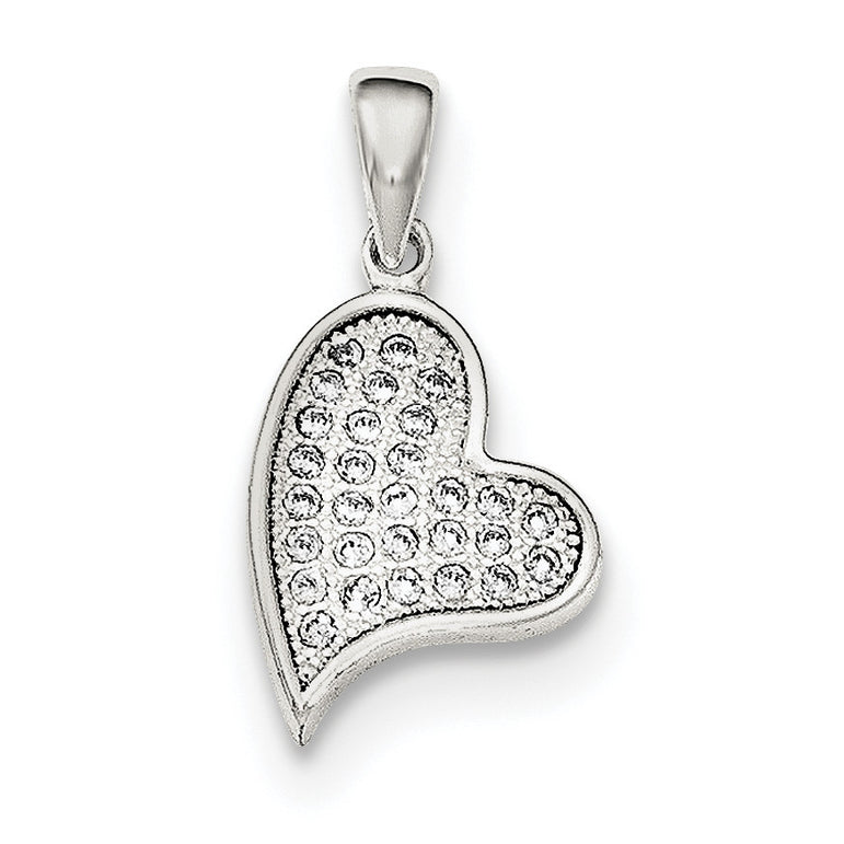 Sterling Silver CZ Heart Pendant QP4445 - shirin-diamonds