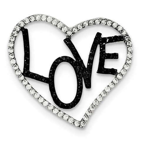 Sterling Silver Polished Black & White CZ Love in Heart Chain Slide