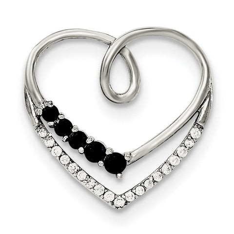 Sterling Silver Polished Black & White CZ Heart Chain Slide