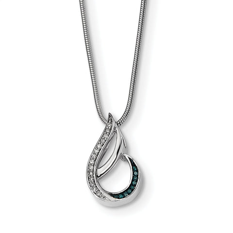 Sterling Silver Polished Diamond/Blue Diamond Chain Slide QP4695