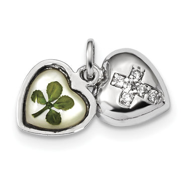 Sterling Silver Platinum Plate Leaf Clover Epoxy & Shell CZ Heart Charm QP4758 - shirin-diamonds