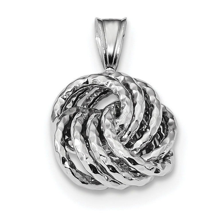 Sterling Silver Rhodium-plated Textured Love Knot Pendant QP4779 - shirin-diamonds