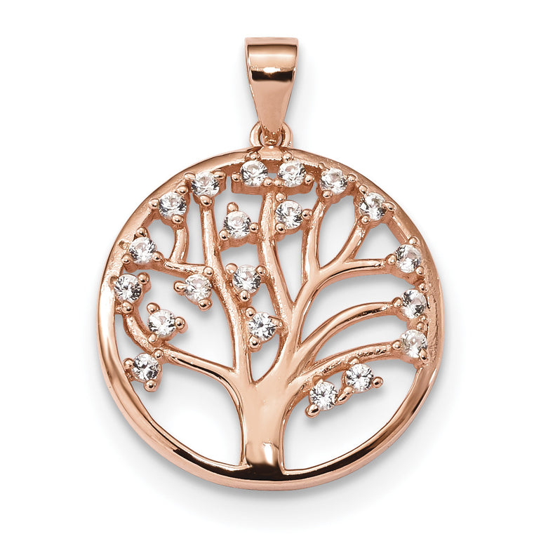 Sterling Silver Rose-tone Created White Sapphire Tree of Life Pendant QP4905 - shirin-diamonds