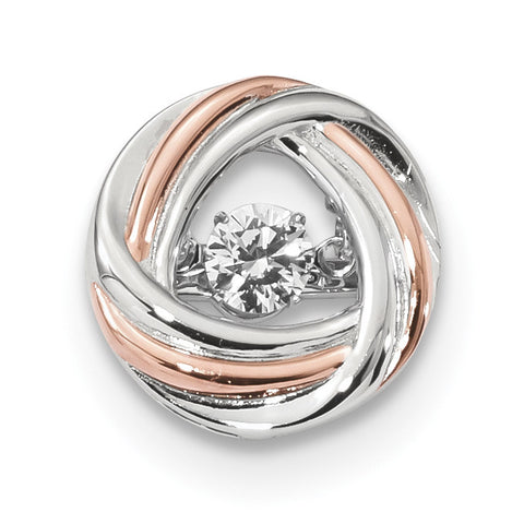 Sterling Silver Plat-plate Rose-tone Vibrant Swar Zircon Chain Slide QP4933 - shirin-diamonds