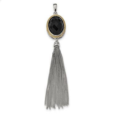Sterling Silver/14k Gold-plated Faceted Black Onyx Tassel Pendant QP4981 - shirin-diamonds