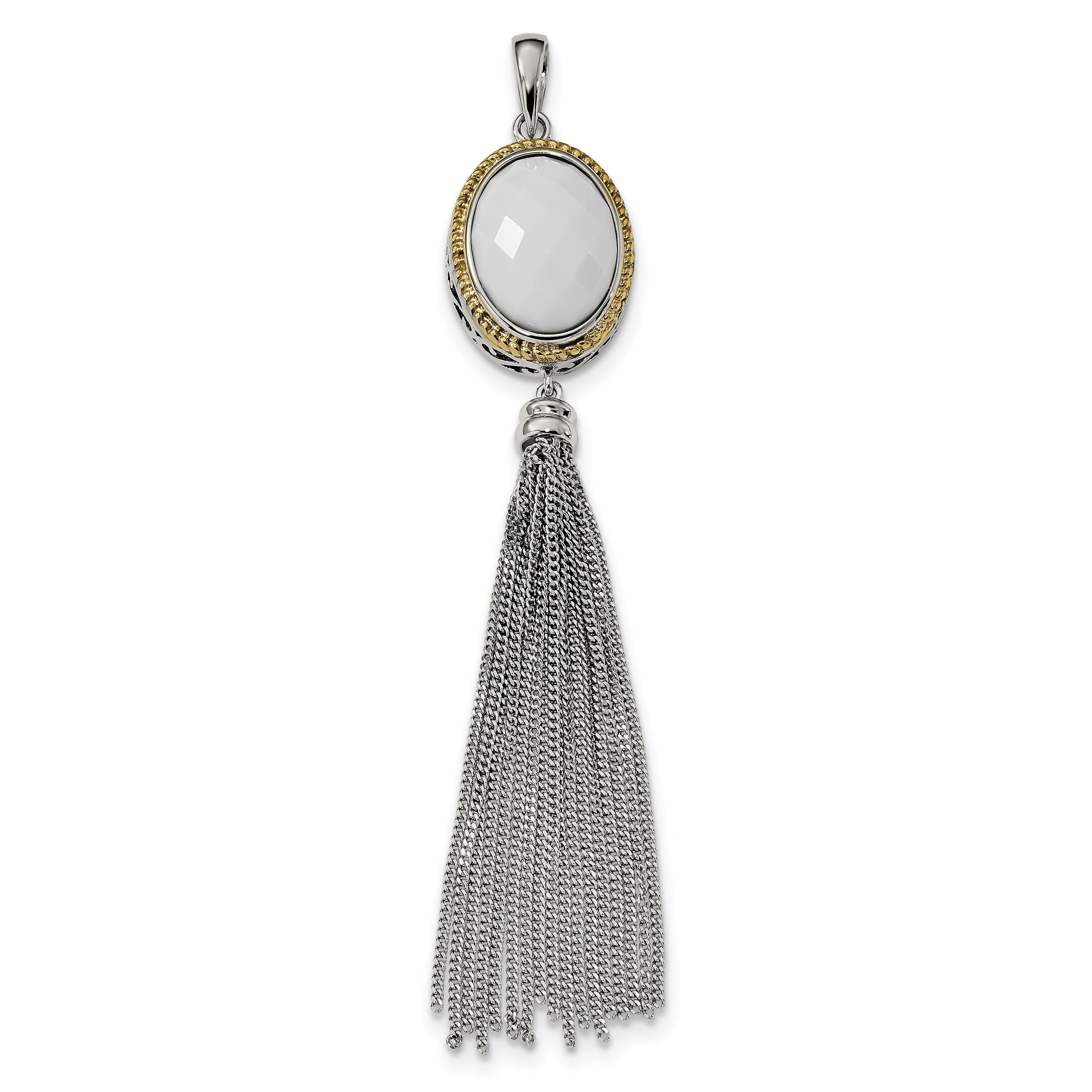 Sterling Silver/14k Gold-plated Faceted White Onyx Tassel Pendant QP4982 - shirin-diamonds
