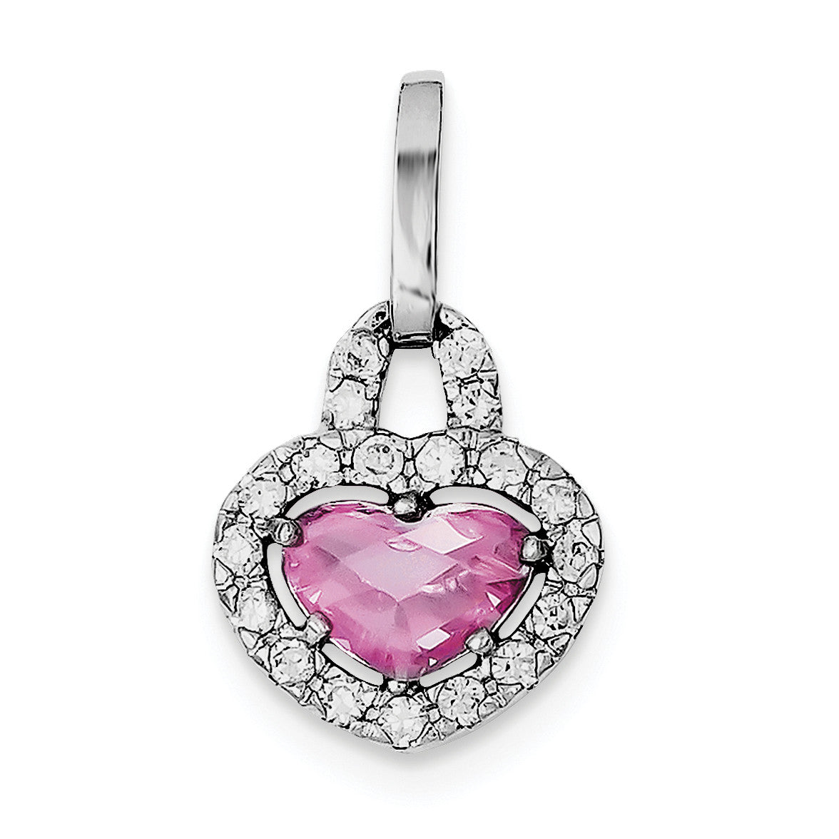 Sterling SilverRhodium Plated Pink and Clear CZ Heart Pendant QP617 - shirin-diamonds