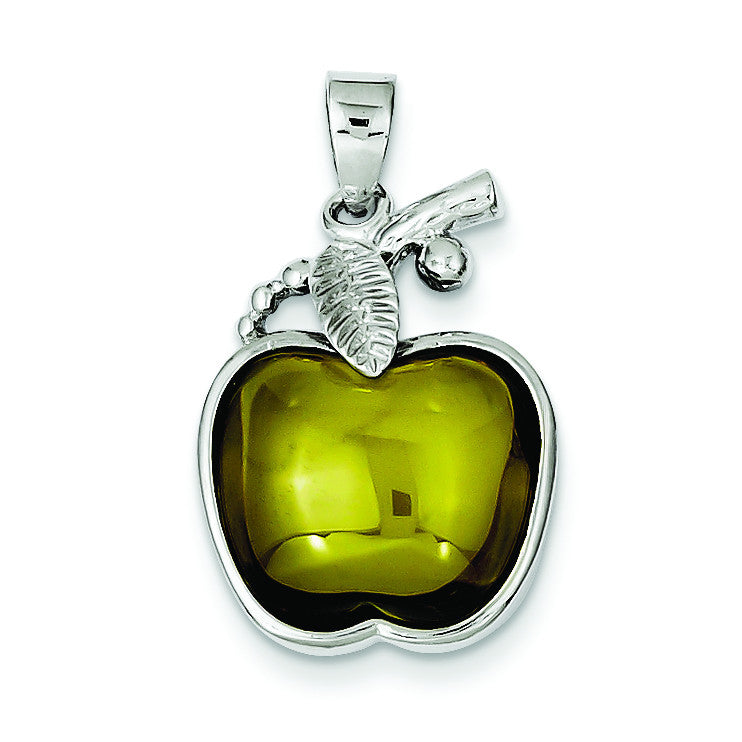 Sterling Silver Green Cabochon Apple Pendant QP662 - shirin-diamonds