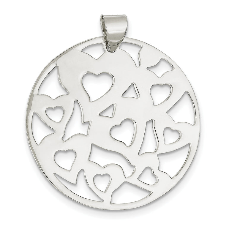 Sterling Silver Round Cut-Out Hearts Pendant QP920 - shirin-diamonds