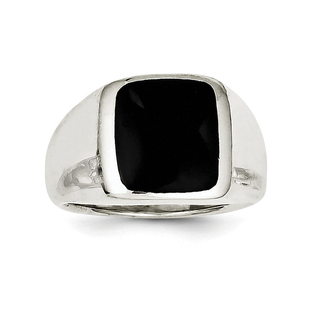Sterling Silver Synthetic Onyx Ring QR1208 - shirin-diamonds