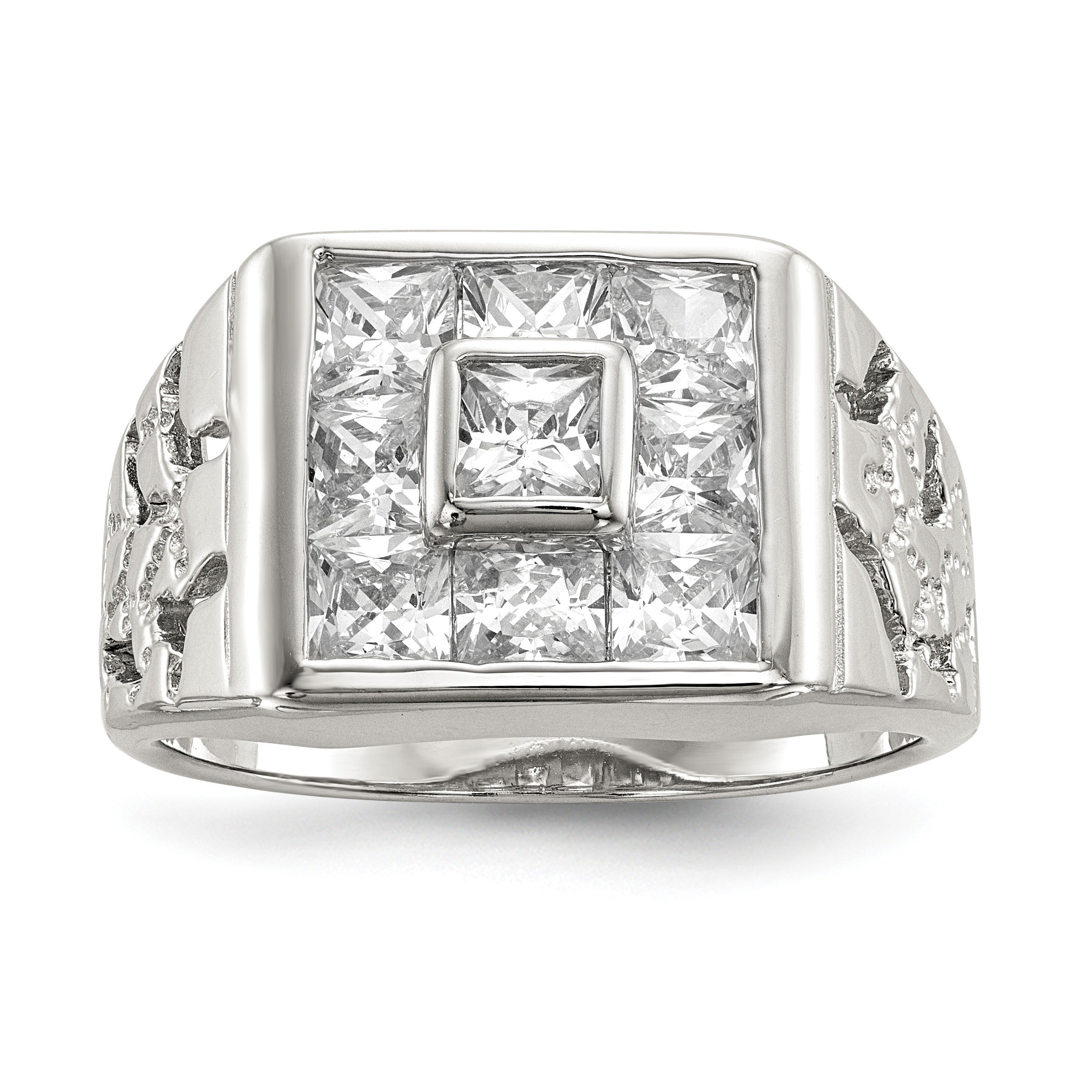 Sterling Silver Men's CZ Ring QR1281 - shirin-diamonds