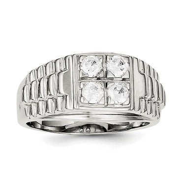 Sterling Silver Men's CZ Ring QR1287 - shirin-diamonds