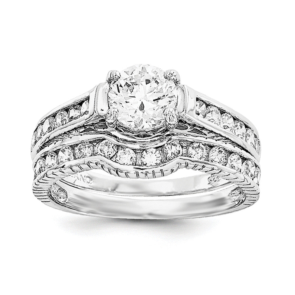 Sterling Silver Rhodium-plated 2-Piece CZ Size 8 Wedding Set Ring QR1328 - shirin-diamonds