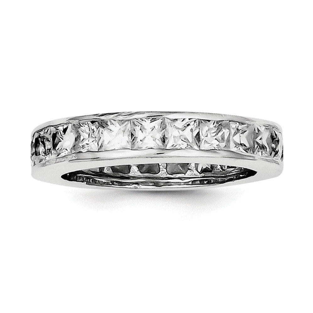 Sterling Silver Rhodium-plated CZ Eternity Band QR1969 - shirin-diamonds
