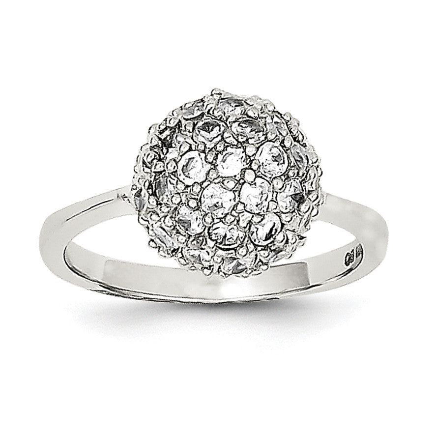Sterling Silver Rhodium-plated CZ Ring QR2175 - shirin-diamonds