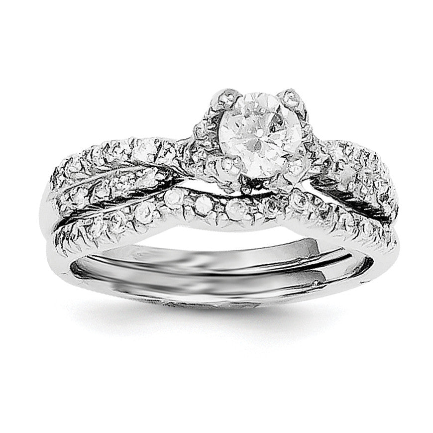 Sterling Silver 2-Piece CZ Wedding Set Ring QR2709 - shirin-diamonds