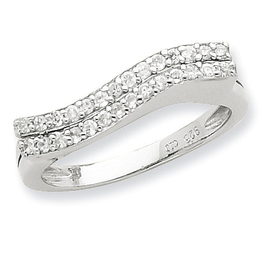 Sterling Silver Polished CZ Ring QR2730 - shirin-diamonds