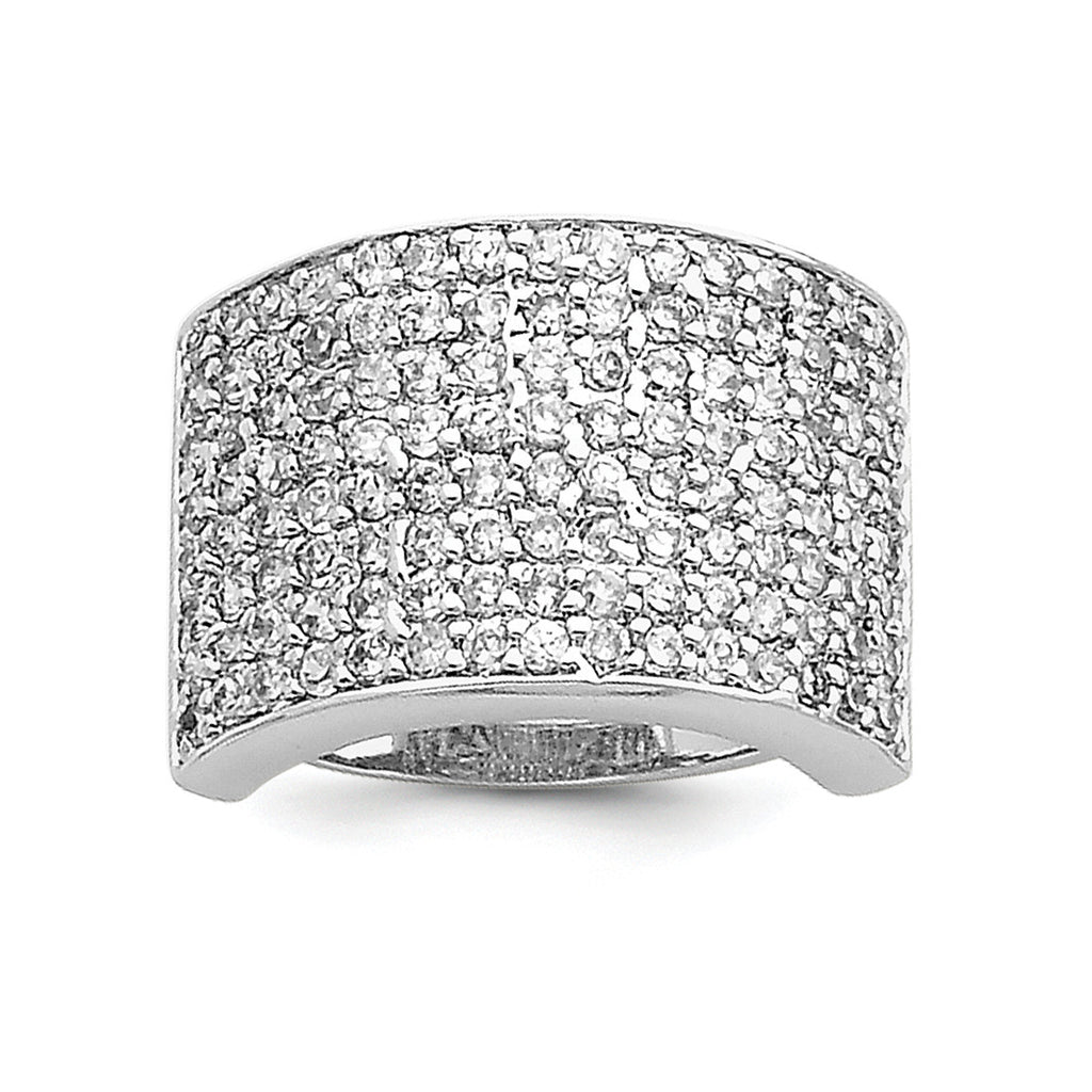 Sterling Silver Polished CZ Ring QR2740 - shirin-diamonds