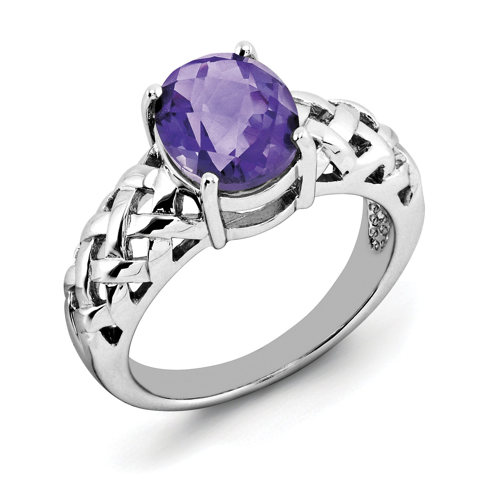Sterling Silver Rhodium-plated Oval Amethyst Ring QR2888AM - shirin-diamonds