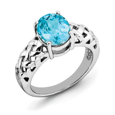 Sterling Silver Rhodium Oval Blue Topaz Ring QR2888BT - shirin-diamonds