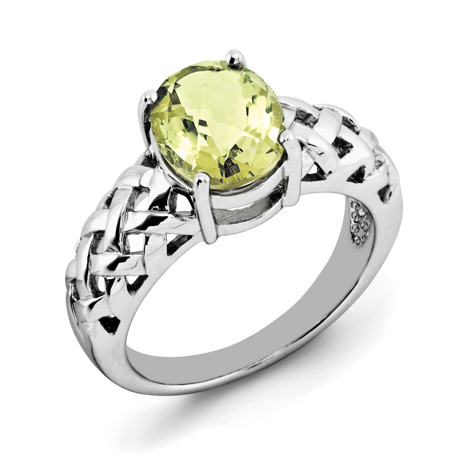 Sterling Silver Rhodium Oval Lemon Quartz Ring QR2888LQ - shirin-diamonds