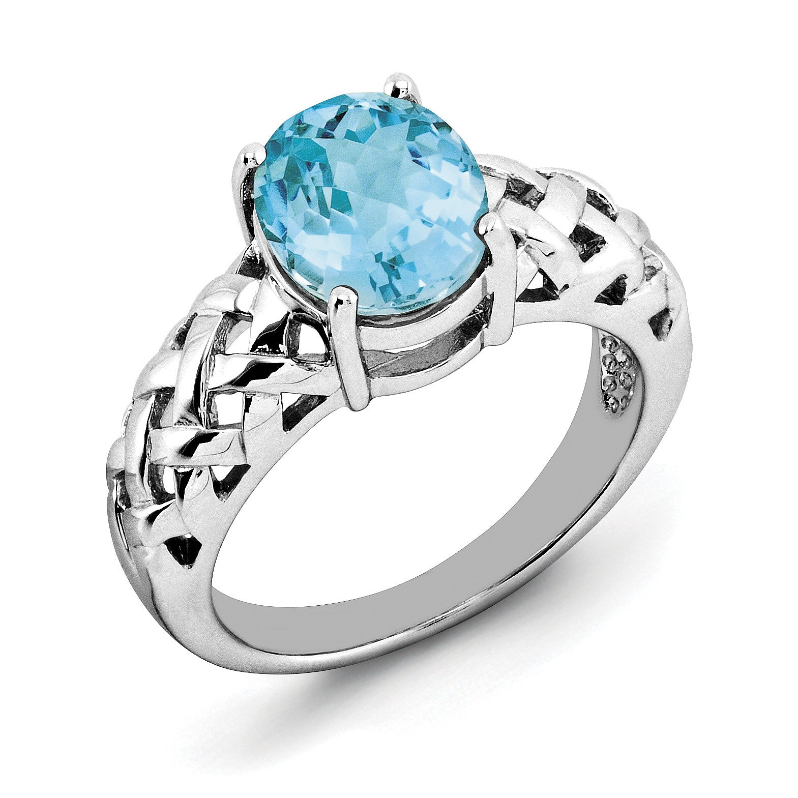 Sterling Silver Rhodium Light Swiss Blue Topaz Ring QR2888LSBT - shirin-diamonds