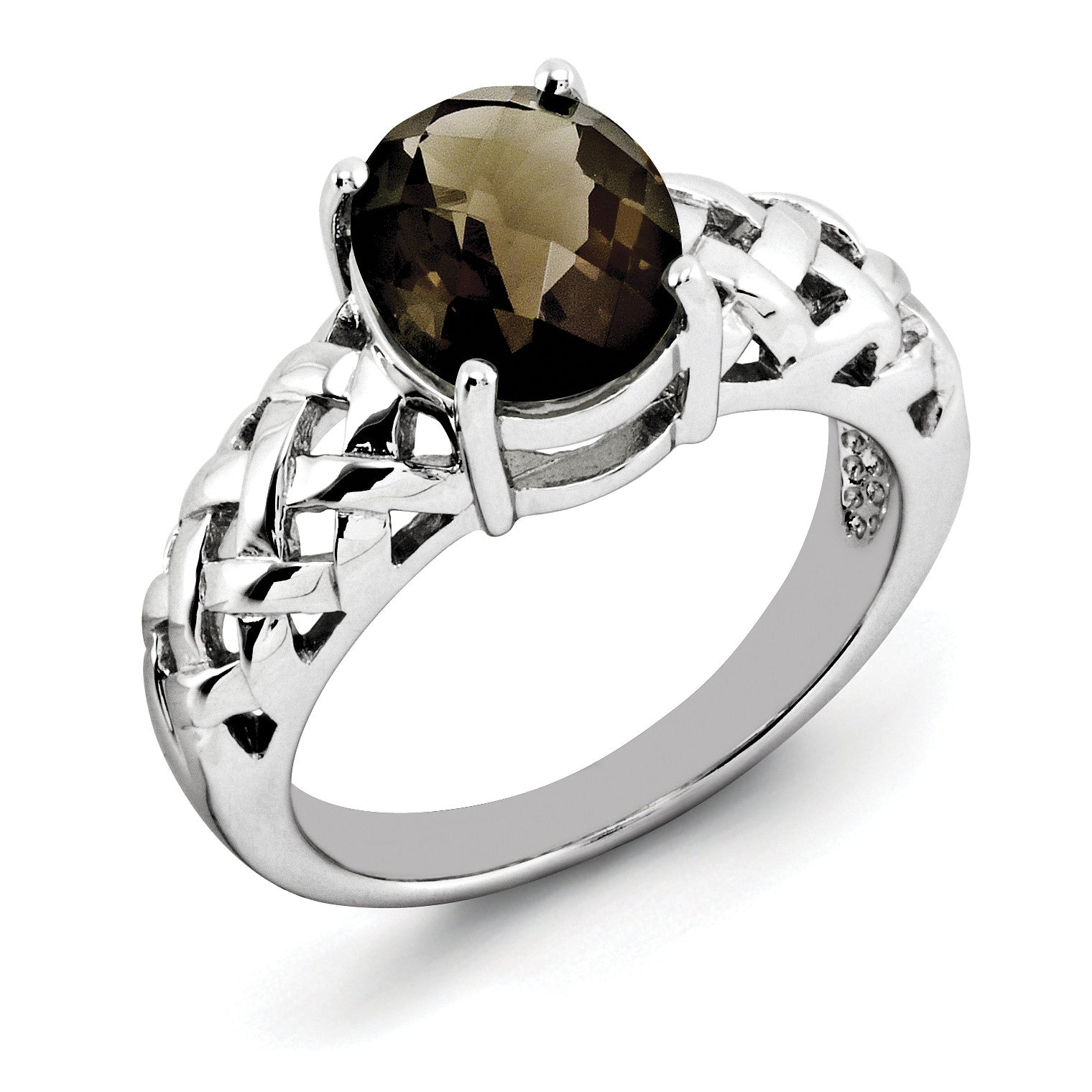 Sterling Silver Rhodium Oval Smoky Quartz Ring QR2888SQ - shirin-diamonds