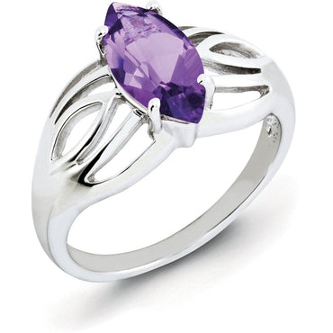 Sterling Silver Rhodium-plated Amethyst Ring QR2889AM - shirin-diamonds