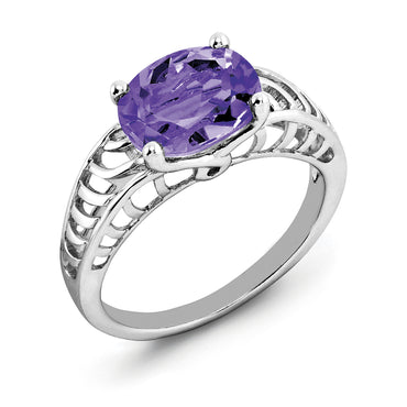Sterling Silver Rhodium-plated Oval Amethyst Ring QR2890AM - shirin-diamonds