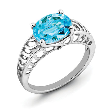 Sterling Silver Rhodium Oval Swiss Blue Topaz Ring QR2890BT - shirin-diamonds