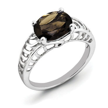 Sterling Silver Rhodium Oval Smoky Quartz Ring QR2890SQ - shirin-diamonds