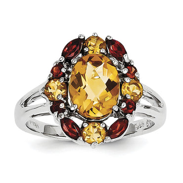 Sterling Silver Rhodium Citrine & Garnet Ring QR2899CI - shirin-diamonds