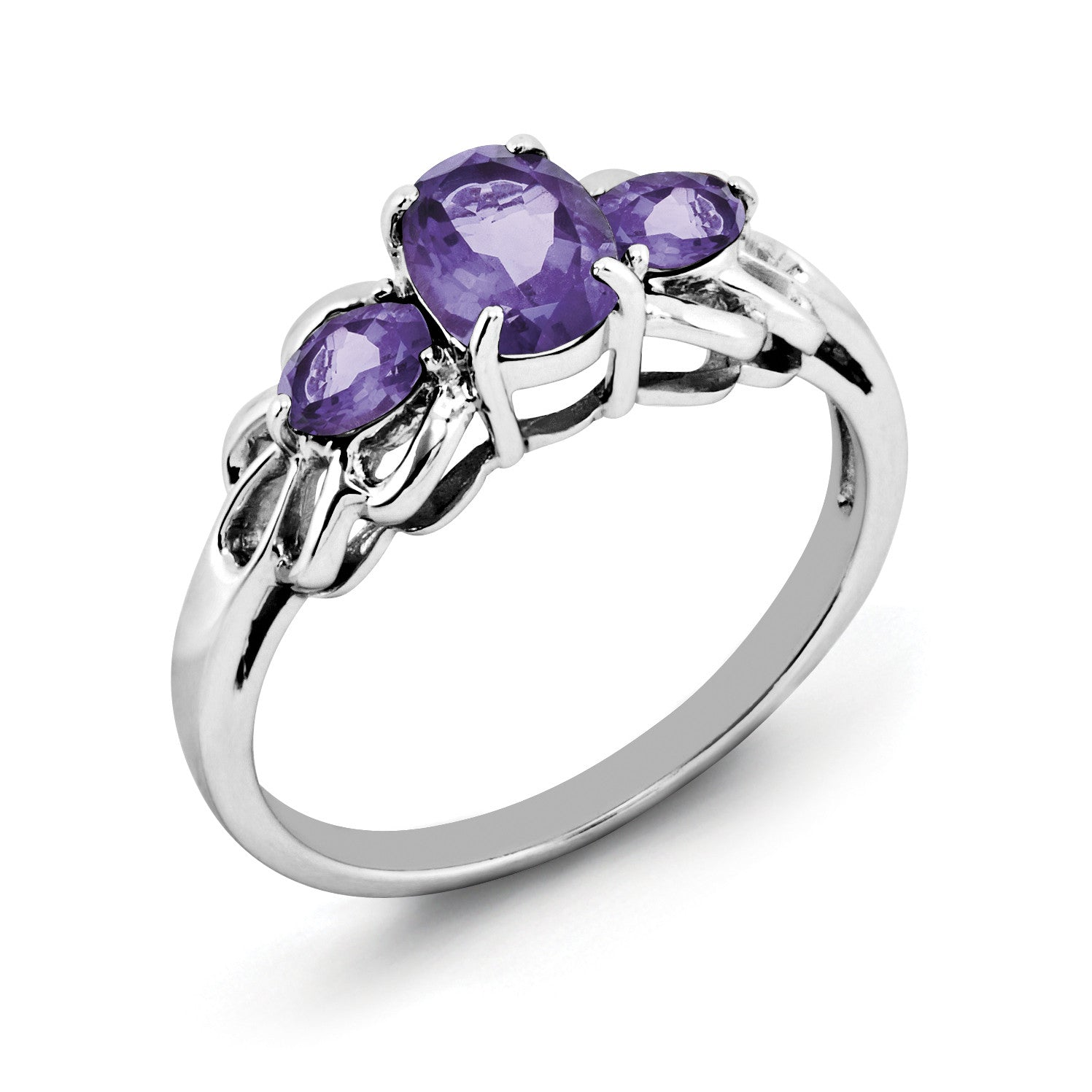 Sterling Silver Rhodium Plated Oval Amethyst Ring QR2905AM - shirin-diamonds