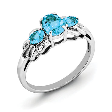 Sterling Silver Rhodium Oval Blue Topaz Ring QR2905BT - shirin-diamonds