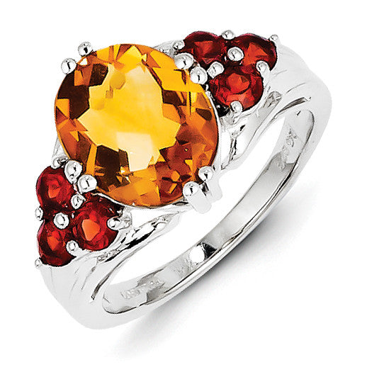 Sterling Silver Citrine & Garnet Ring QR2908CI - shirin-diamonds