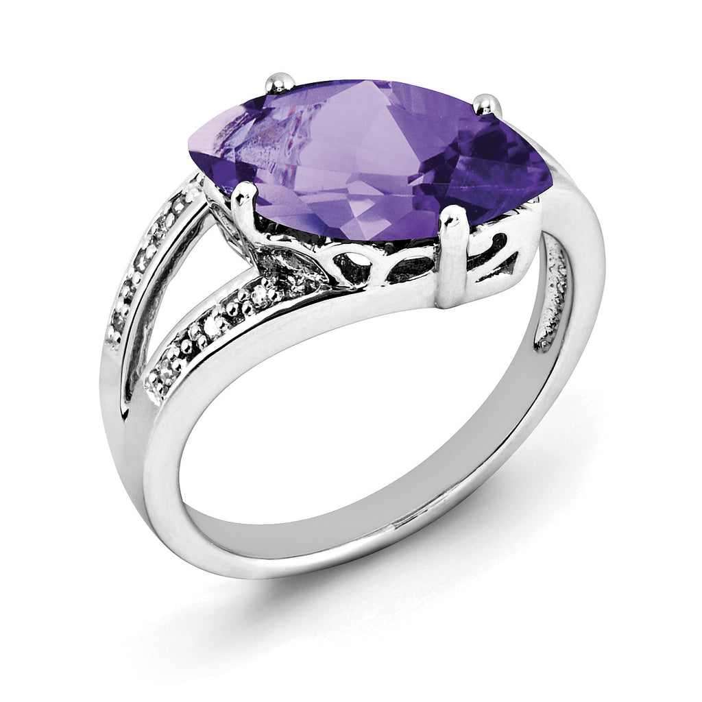 Sterling Silver Rhodium-plated Amethyst & Diamond Ring QR2935AM - shirin-diamonds
