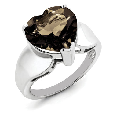 Sterling Silver Rhodium Smoky Quartz Ring QR2942SQ - shirin-diamonds