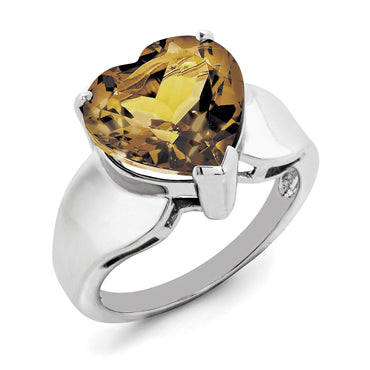 Sterling Silver Rhodium Whiskey Quartz Ring QR2942WQ - shirin-diamonds