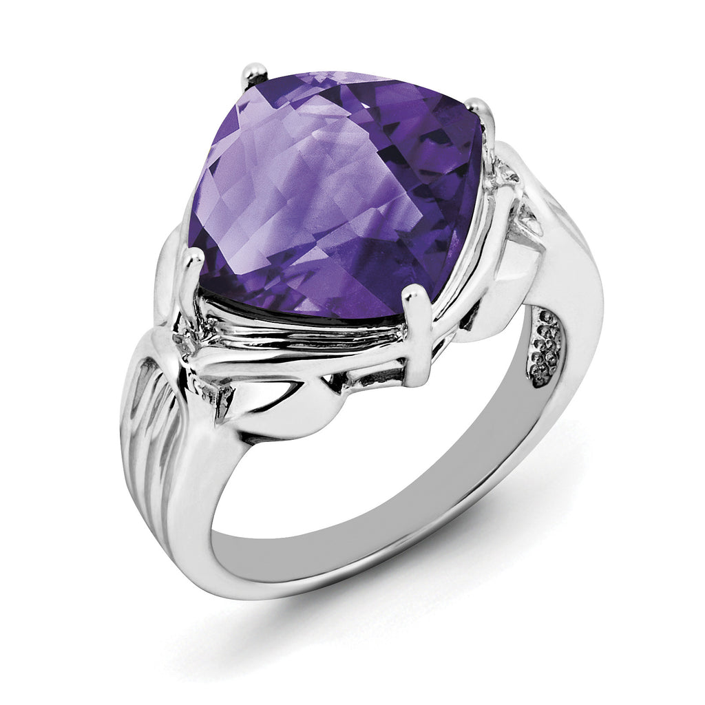 Sterling Silver Rhodium-plated Checker-Cut Amethyst Ring QR2945AM - shirin-diamonds