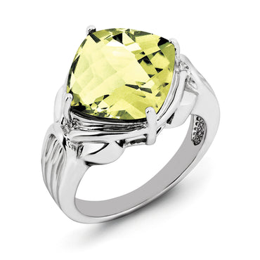 Sterling Silver Rhodium Checker-Cut Lemon Quartz Ring QR2945LQ - shirin-diamonds