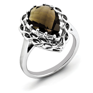 Sterling Silver Rhodium Checker-Cut Smoky Quartz Ring QR2946SQ - shirin-diamonds
