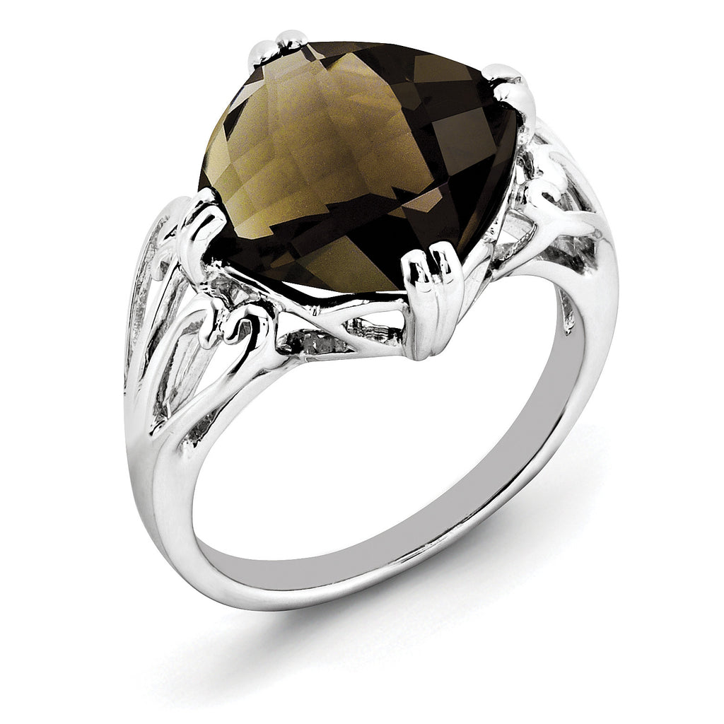 Sterling Silver Rhodium Checker-Cut Smoky Quartz Ring QR2951SQ - shirin-diamonds