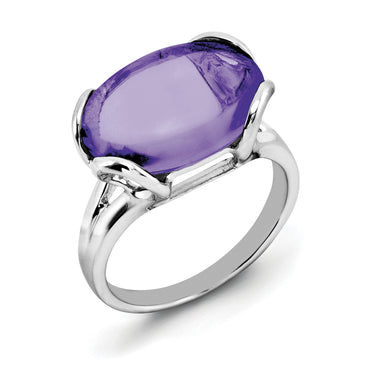 Sterling Silver Rhodium-plated Amethyst Ring QR2952AM - shirin-diamonds